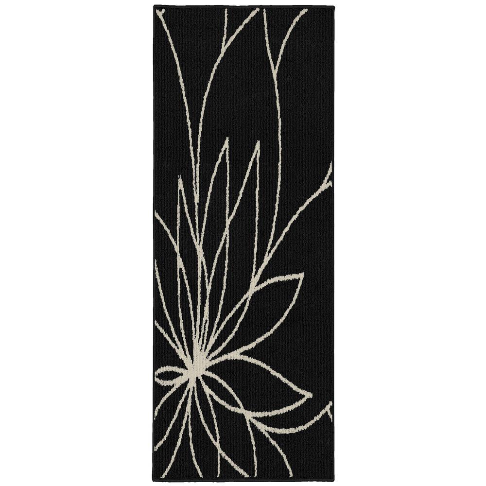Grand Floral 2 ft. x 5 ft. Area Rug Black/Ivory