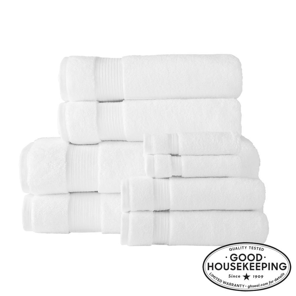 Egyptian Cotton 8-Piece Bath Sheet Towel Set in White