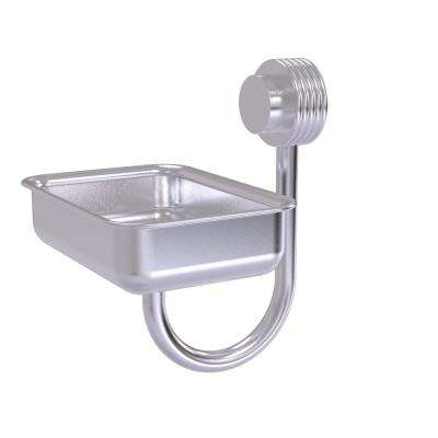 Venus Collection Wall Mounted Soap Dish with Groovy Accents in Satin Chrome