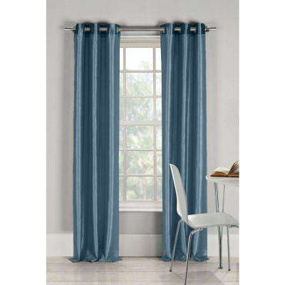 Semi-Opaque Bali 84 in. L Faux Silk Panel in Peacock Blue (2-Pack)