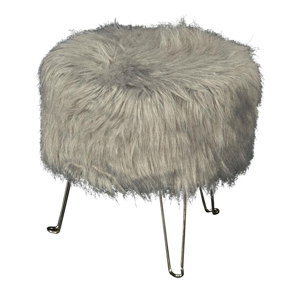 Linon Home Decor Francie 15 75 In Gray Faux Fur Hair Pin