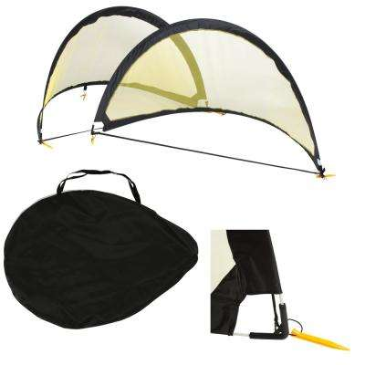 6 ft. Black and Yellow Soccer Goals Mesh Portable Goals with Carry Case and Stakes (Set of 2)
