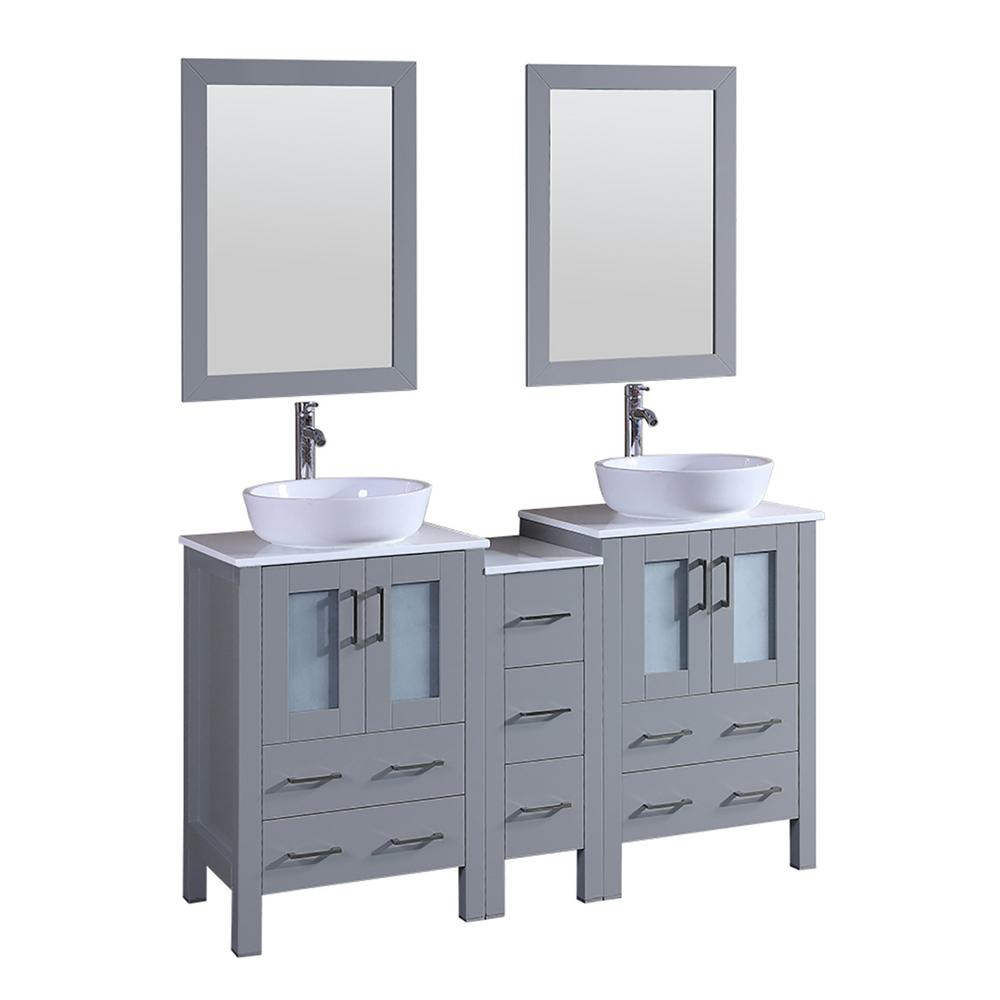 Bosconi 59.5 in. W Double Bath Vanity in Gray with Vanity