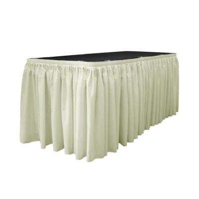 17 ft. x 29 in. Long Ivory Polyester Poplin Table Skirt with 10 L-Clips