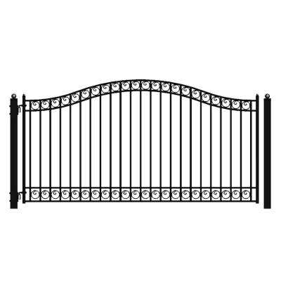Dublin Style 16 ft. x 6 ft. Black Steel Single Swing Driveway Fence Gate