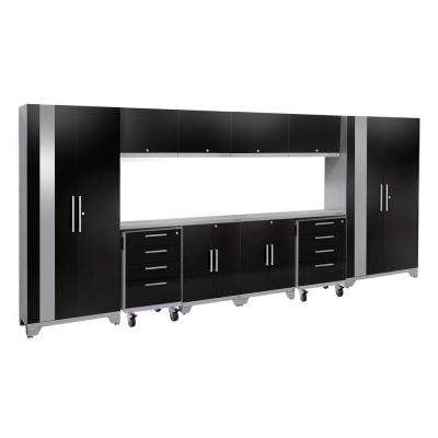 Performance 2.0 77.25 in. H x 156 in. W x 18 in. D Steel Stainless Steel Worktop Cabinet Set in Black (12-Piece)