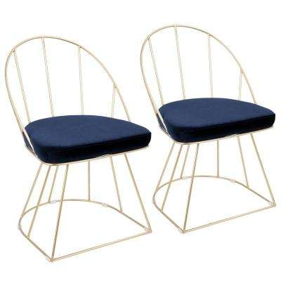 Canary Contemporary Dining/Accent Gold And Blue Chair Velvet (Set Of 2)