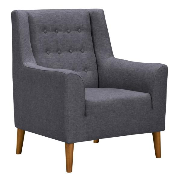 Armen Living Nubia Dark Grey Fabric Accent Chair LCNUCHGR