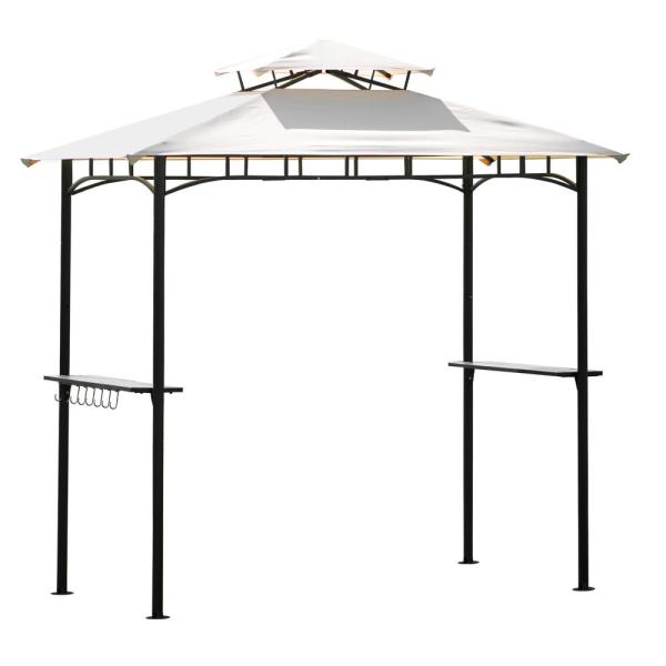 8 ft. x 5 ft. Beige Tented BBQ Canopy for Outdoor Activities, Grill Gazebo with Shelves and Metal Frame