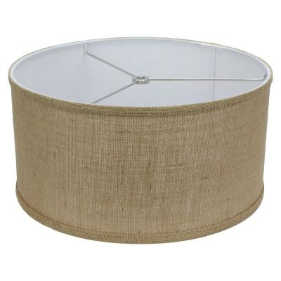 Fenchel Shades 14 in. Top Diameter x 14 in. Bottom Diameter x 7 in. Height, Drum Lamp Shade - Burlap Natural