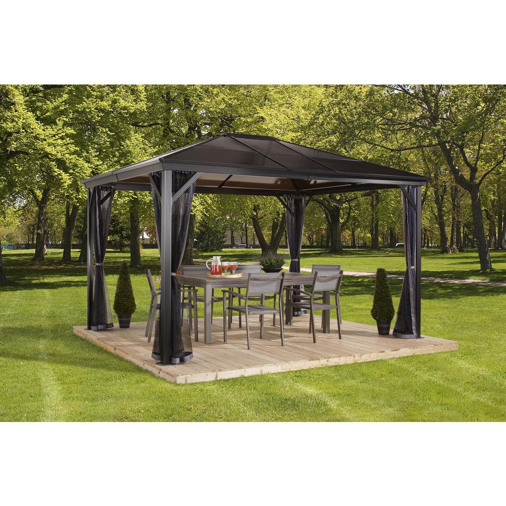 Sojag 10 Ft D X 12 Ft W Verona Aluminum Gazebo In Dark Gray With 2 Track System Uv Protected Roof And Mosquito Netting 312 9162868 The Home Depot
