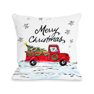 Merry Christmas Pickup Truck 16 inch x 16 inch Decorative Pillow by
