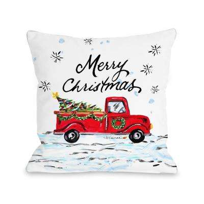 Merry Christmas Pickup Truck 16 in. x 16 in. Decorative Pillow