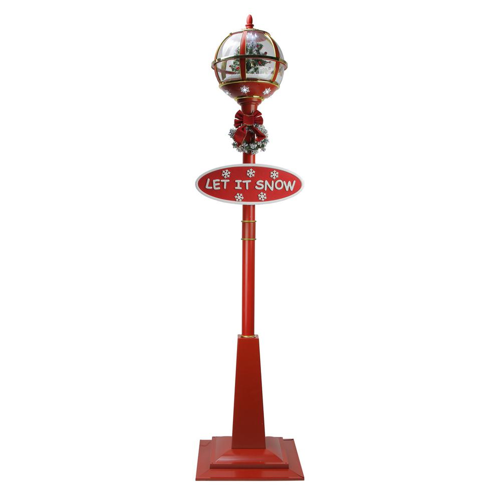 Snowing And Musical Christmas Tree: Northlight 69 In. Christmas Lighted Red And Gold Musical