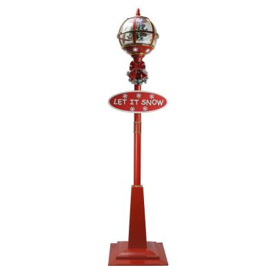 69 in. Christmas Lighted Red and Gold Musical Snowing Tree Round Street Lamp
