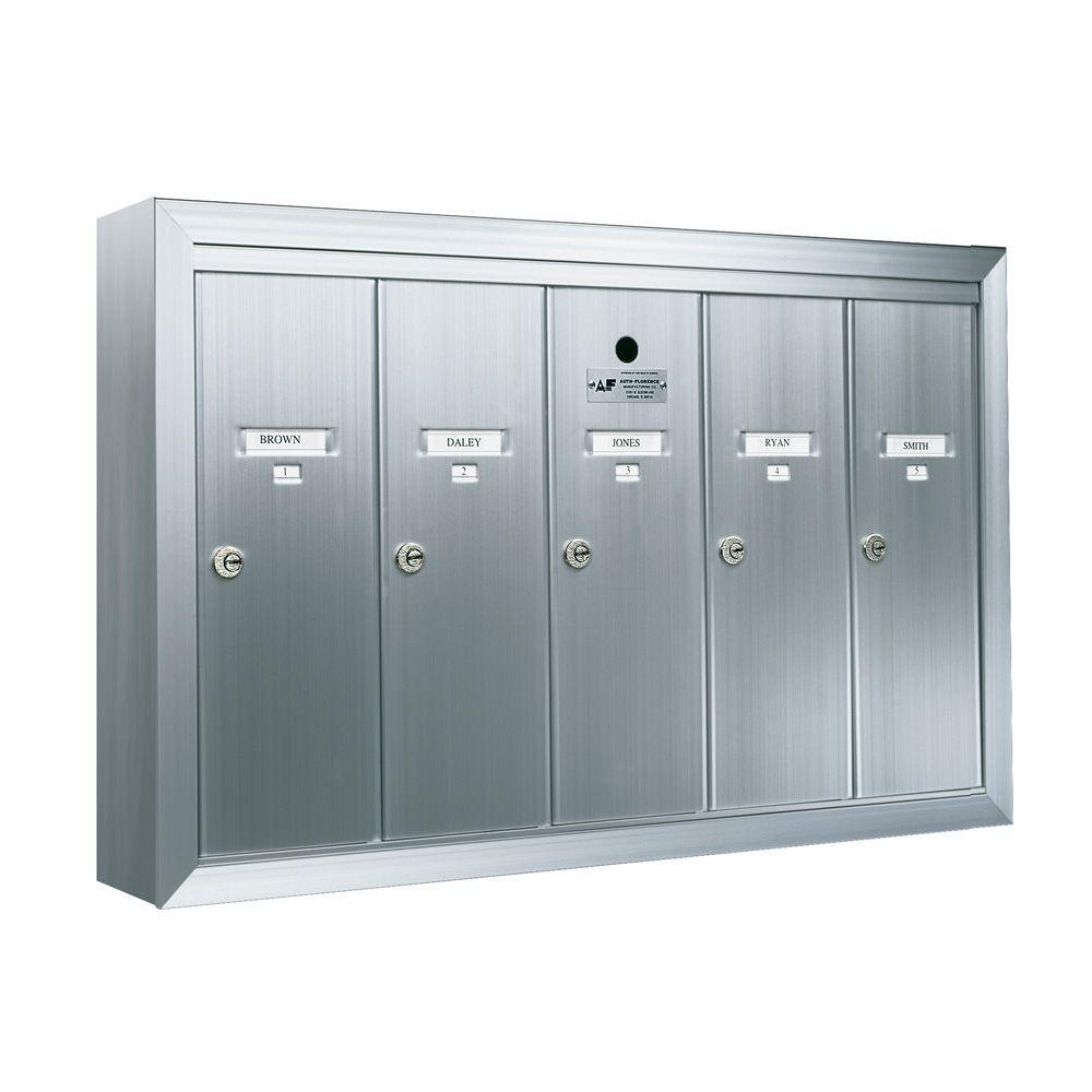 1250 Vertical 5-Compartment Aluminum Surface-Mount Mailbox