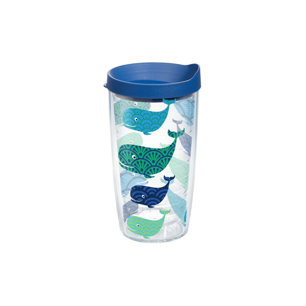 Tervis Whale Pattern 16 Oz Double Walled Insulated Tumbler With Travel Lid
