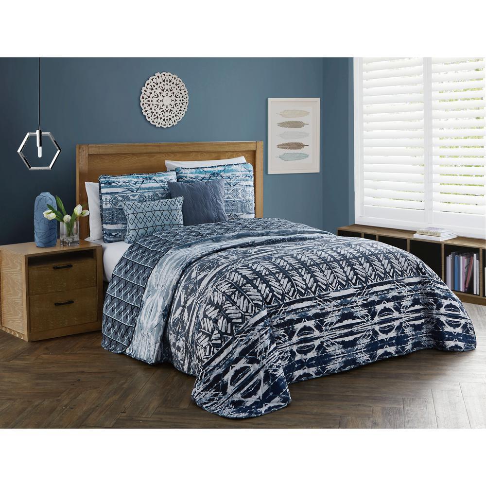 Tia 5-Piece Blue King Quilt Set