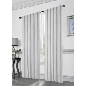 Stacy 84 inch L Polyester Double Layered Rod Pocket with Thermal Lining Window Curtain Panel Pair in Silver (2-Pack) by