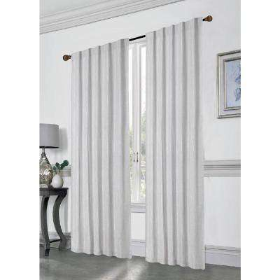 Stacy 84 in. L Polyester Double Layered Rod Pocket with Thermal Lining Window Curtain Panel Pair in Silver (2-Pack)