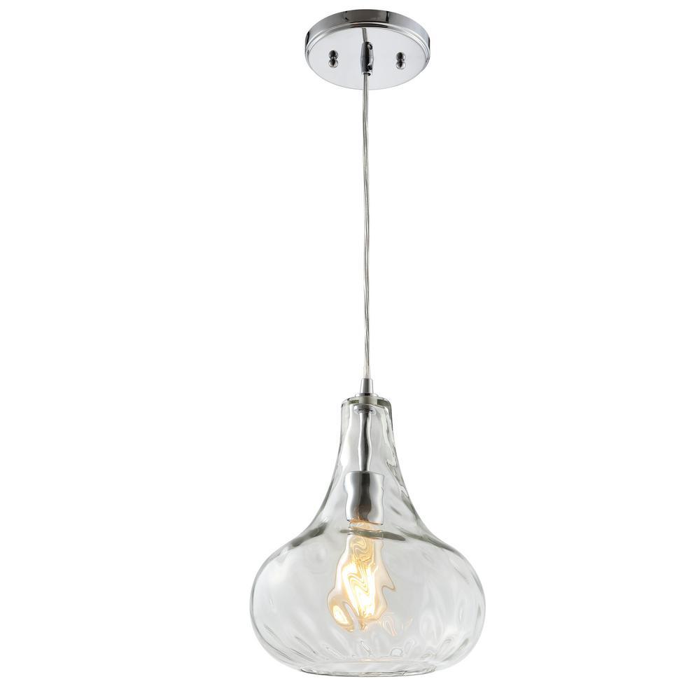 Ferano 9 in. 1-Light Chrome Adjustable Metal/Glass LED Pendant