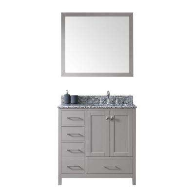 Caroline Madison 36 in. W x 22 in. D Vanity in Grey with Granite Vanity Top in Arctic White with Basin and Mirror