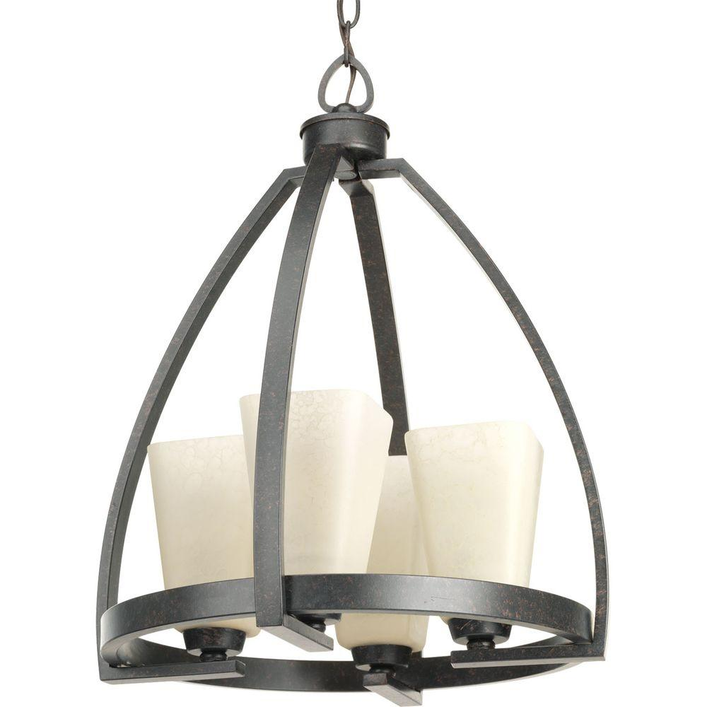 Progress Lighting Ridge Collection 4-Light Espresso Chandelier with Square Etched Watermarked Glass Shade  sc 1 st  Home Depot & Progress Lighting Ridge Collection 4-Light Espresso Chandelier with ...