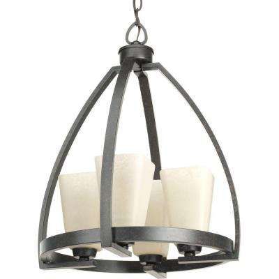Ridge Collection 4-Light Espresso Chandelier with Square Etched Watermarked Glass Shade