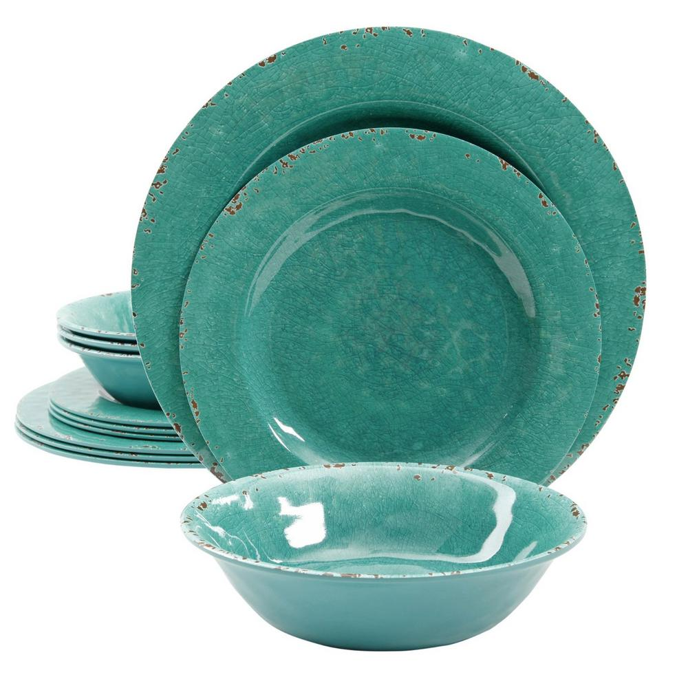 Mauna 12-Piece Teal Crackle Dinnerware Set  sc 1 st  Home Depot & Teal - Dinnerware Sets - Dinnerware - The Home Depot