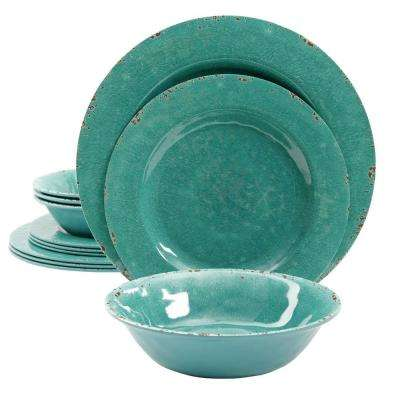 Mauna 12-Piece Teal Crackle Dinnerware Set