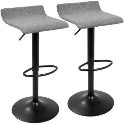 Ale XL Black and Gray Adjustable Height Bar Stool (Set of 2)
