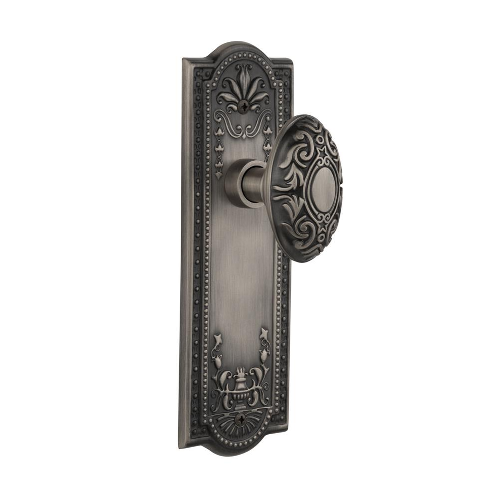 Meadows Plate Double Dummy Victorian Door Knob in Antique Pewter