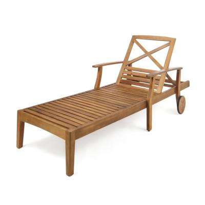 Teak Brown Wood Outdoor Chaise Lounge