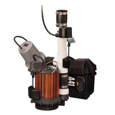 1/3 HP Submersible Sump Pump and 441 Battery Back-Up Emergency Sump Pump System with Alarm