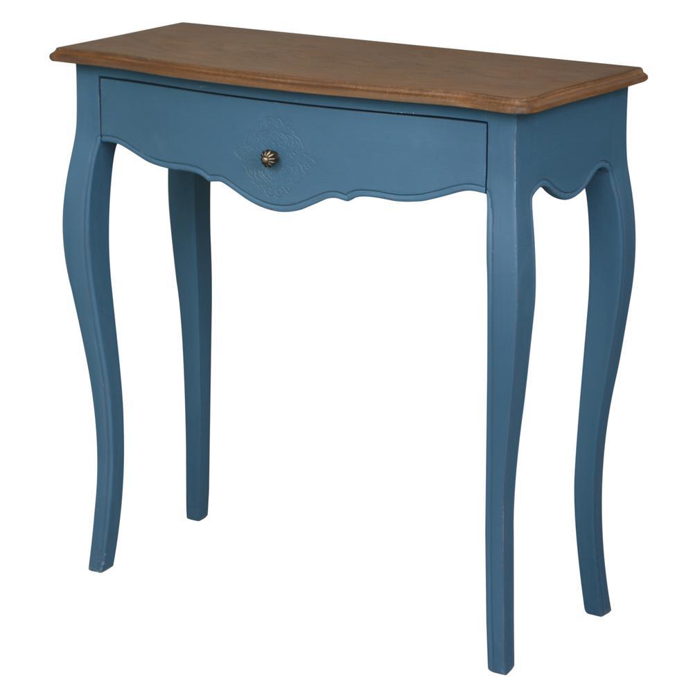 Ashbury Stradivarius Oak Veneer And Antique Blue 1 Drawer Console Table
