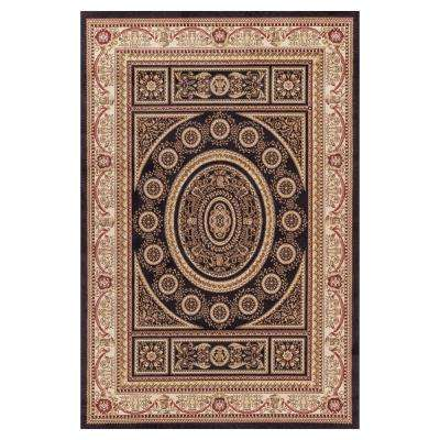 Jewel Aubusson Black 8 ft. x 10 ft. Area Rug