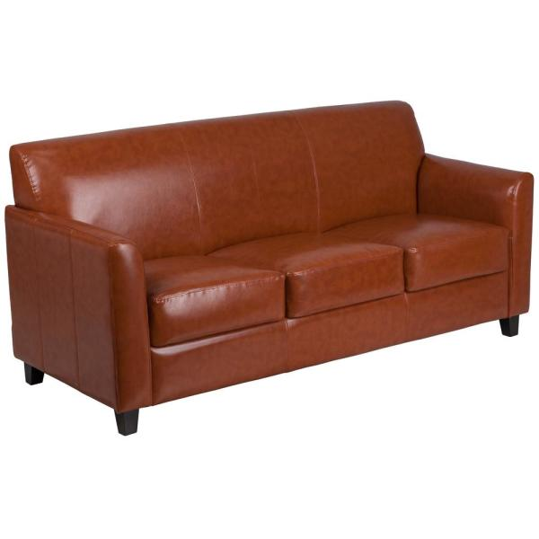 Cognac Faux Leather Sofa