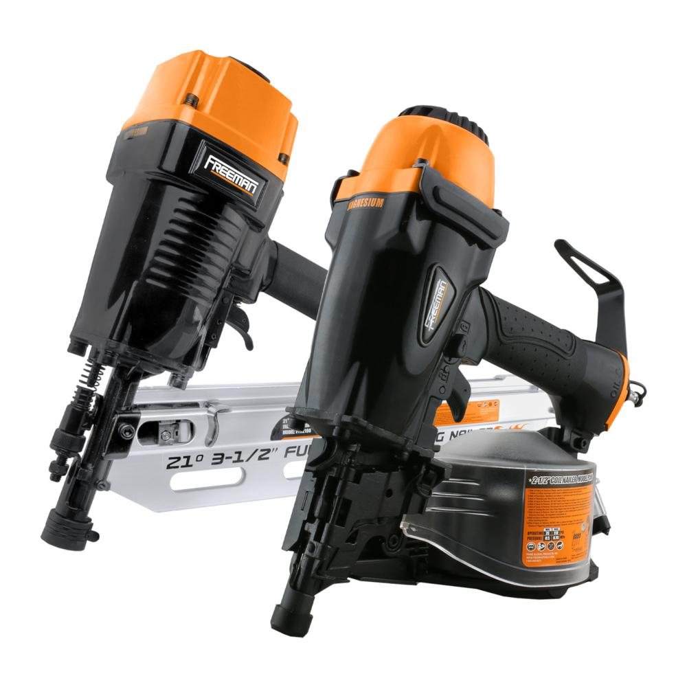 Freeman Pneumatic 3 1 2 In 21 Degree Framing Nailer With Storage Case And Pneumatic 2 1 2 In 15 Degree Coil Siding Nailer Kit Pfr21cn65 The Home Depot
