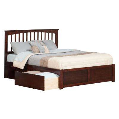 Mission Walnut Queen Platform Bed with Flat Panel Foot Board and 2-Urban Bed Drawers