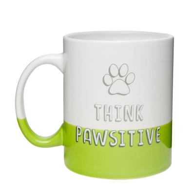 Think Pawsitive 30 oz. White-Green Dipped Ceramic Coffee Mug
