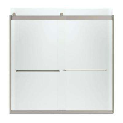 Levity 57 in. x 59.75 in. Semi-Frameless Sliding Tub Door in Nickel with Handle