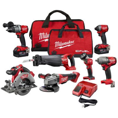 M18 FUEL 18-Volt Lithium-Ion Brushless Cordless Combo Kit (7-Tool) W/ (2) 5.0 Ah Batteries, (1) Charger, (2) Tool Bags