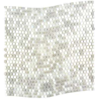 Constellation Wavy White Gray Mix 11.7 in. x 11.7 in. x 3.20 mm Glass Mosaic Tile