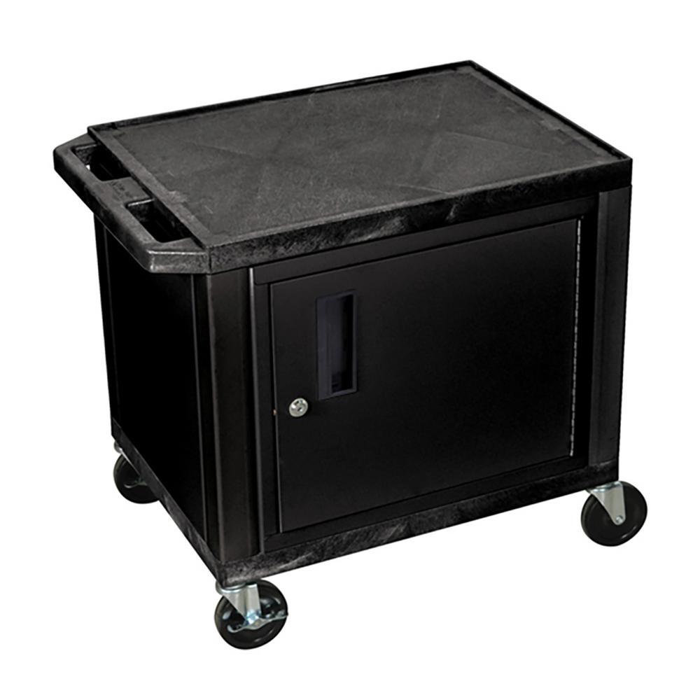 WT 26 in. A/V Cart with Black Cabinet, Black Shelves