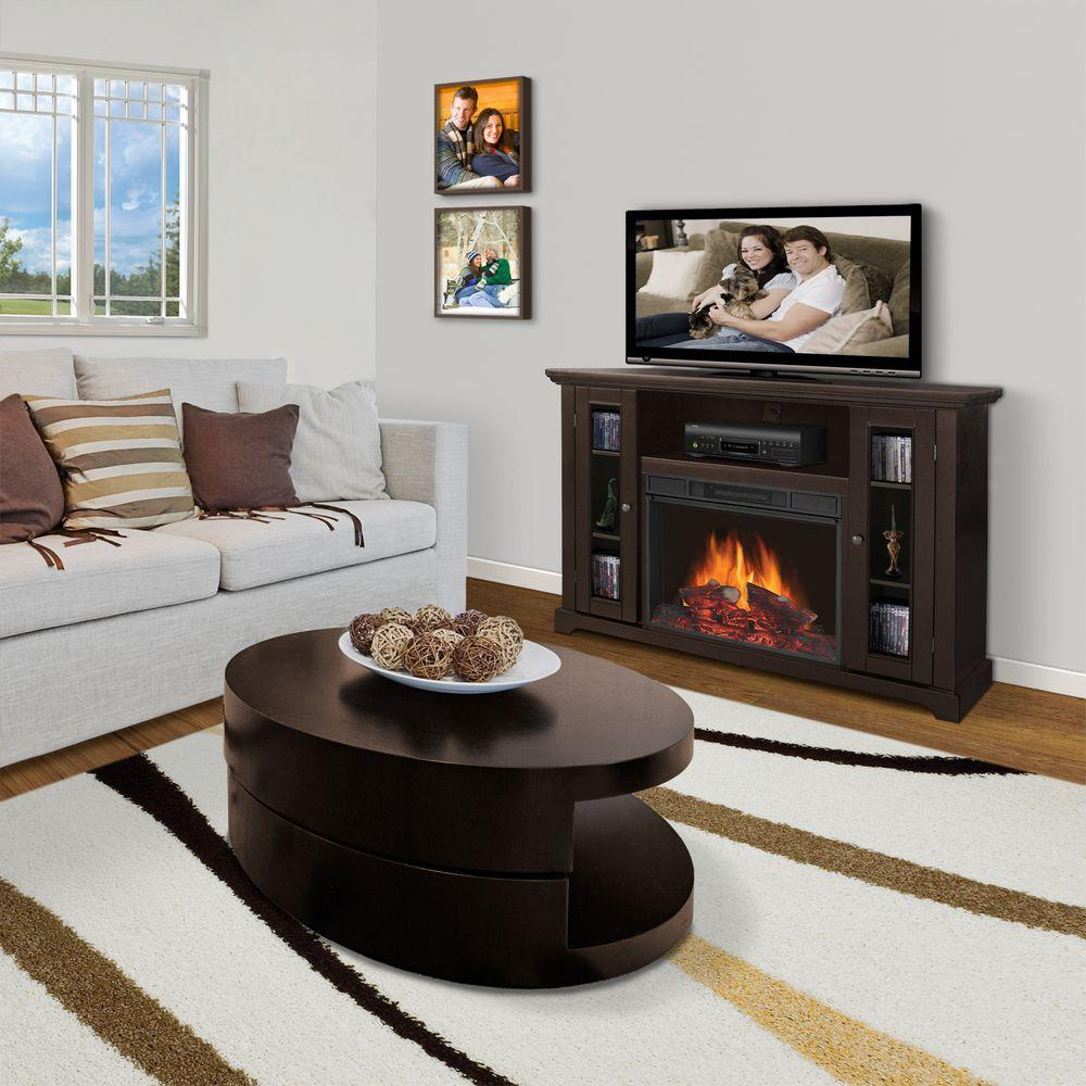 Quality Craft 51 in. Media Console Electric Fireplace in Dark Chocolate