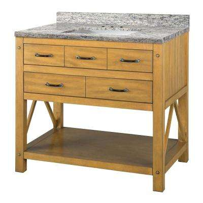 Avondale 37 in W x 22 in D Vanity in Weathered Pine with Granite Vanity Top in Santa Cecilia with White Sink