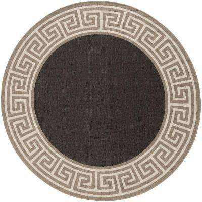 Bishorn Navy 9 ft. x 9 ft. Round Indoor/Outdoor Area Rug
