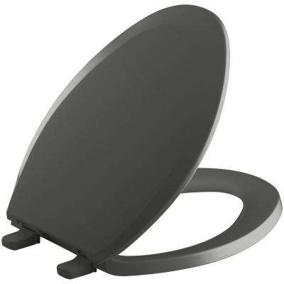 Lustra Elongated Closed-Front Toilet Seat in Thunder Grey