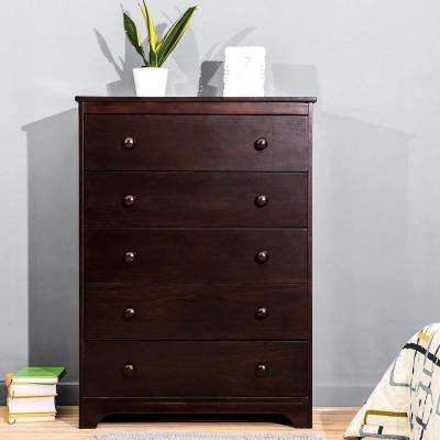 5-Drawer Brown Nightstand