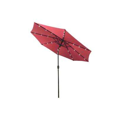 10 ft. Steel Market Solar Tilt Patio Umbrella in Burgundy